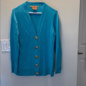 Turquoise Tory Burch Caridgan